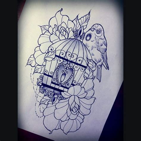 bird cage tattoo designs birdcage freedom pencil and in color