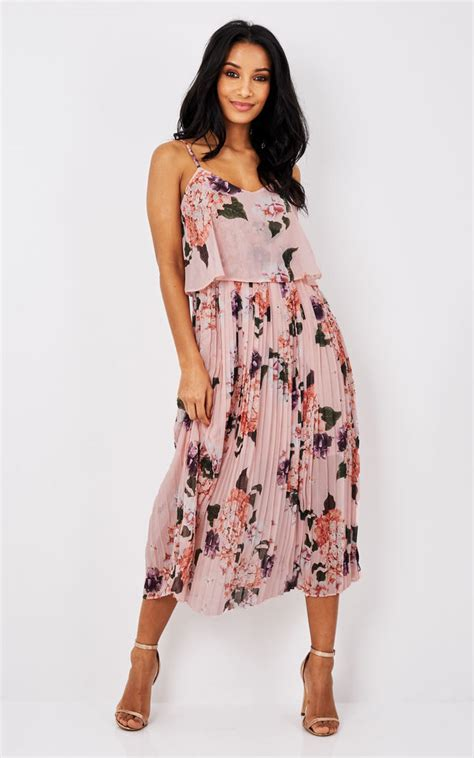Pleated Floral Print Dress pink floral print pleated cami midi dress silkfred