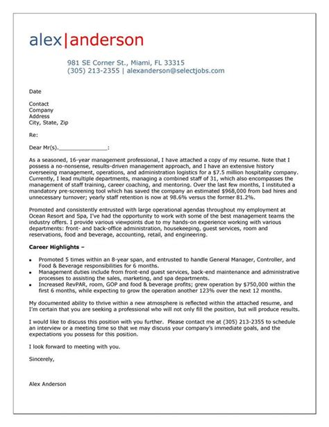 exles of cover letter cover letter exle for hospitality manager