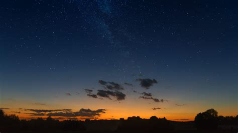 wallpaper starry sky horizon sunset night clouds