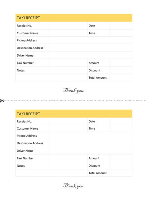 Pre Paid Rent Receipt Template by Taxi Receipt Template