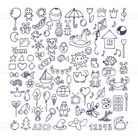 doodle drawing vector collection of doodles doodle children