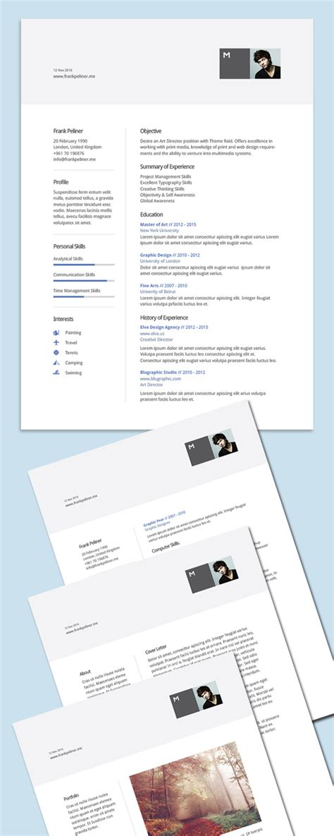 free modern resume template 2016 free professional cv resume and cover letter psd templates freebies graphic design junction