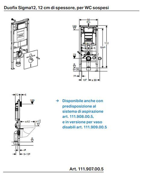 altezza cassetta geberit duofix per wc sospeso sigma 12 cm 112 cm altezza