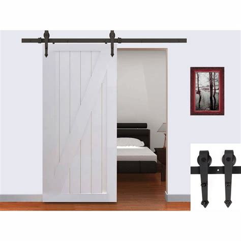6 5ft black country american arrow style barn wood steel sliding single door hardware closet set