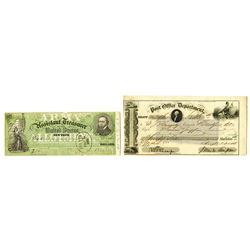 Post Office Background Check Post Office Department Army Treasury 1853 1863 Pair Of Checks