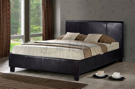 Leather Bed Frames Uk Birlea Berlin 4ft Small Brown Faux Leather Bed Frame By Birlea