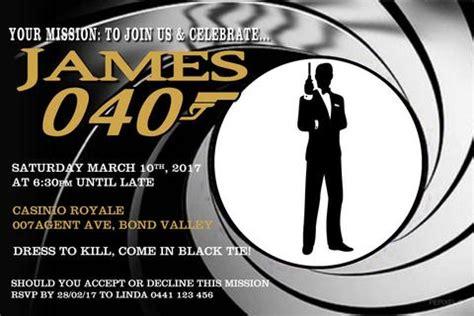 40th Birthday Invitation 007 Mission James Bond Free Bond Invitation Template