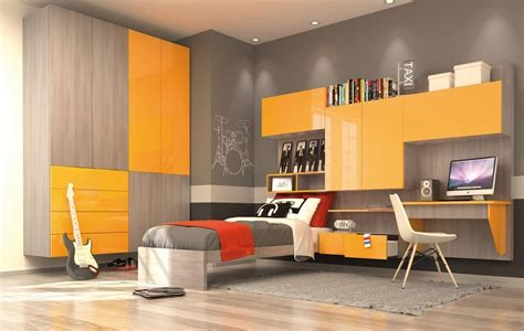Modern kid bedroom with wall wardrobe, yellow and elm