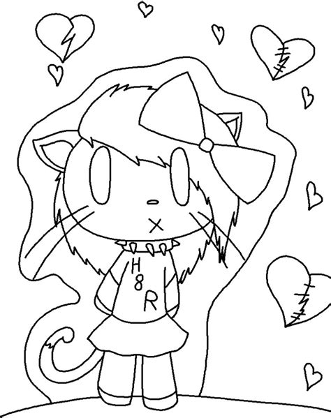 emo hello kitty coloring pages emo hello kitty lineart by jkcafe on deviantart