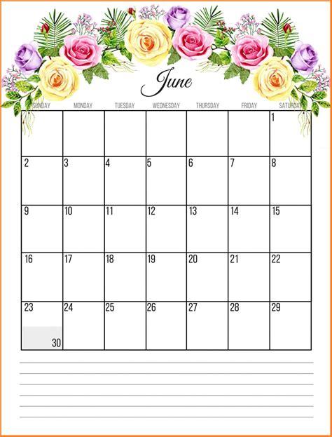 june  floral calendar paper crafts calendar june