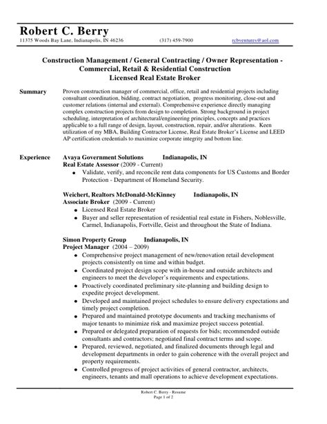 Residential Construction Resume Sles Robert C Berry Resume