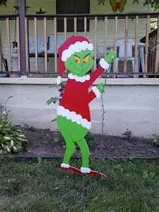 Grinch christmas standing grinch stealing lights outdoor wood yard art