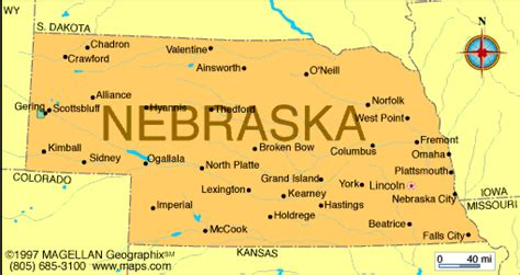 Nebraska The 37th State by Map Of Nebraska Was The 37th State To Come Into The Union