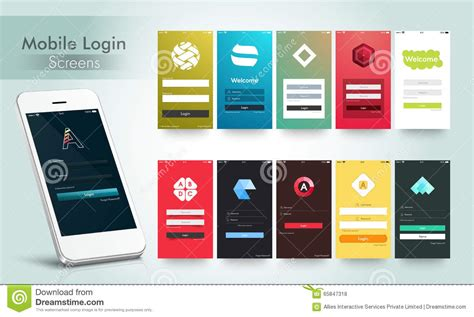 Mobile login screens ui kit with smartphone stock illustration image 65847318