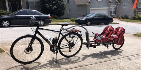 mountain bike passenger seat weehoo igo 2 passenger bike trailer cycle bicycling and