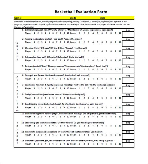 Evaluation Card Template by 12 Free Basketball Evaluation Forms Free Premium
