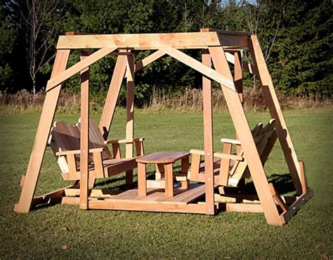 how to build a swing set for adults framed four seat cedar swing w center platform table