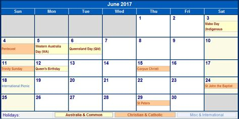 Calendar June 2017 Australia June 2017 Australia Calendar With Holidays For Printing