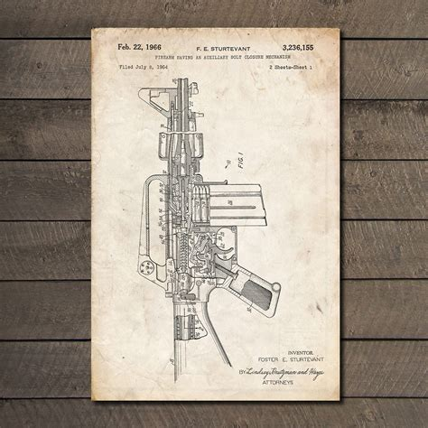 How To Make A Paper M16 - m16 rifle blueprint gun patent prints touch of modern
