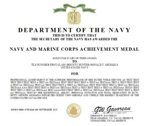 Air Commendation Medal Template by Navy And Marine Corps Achievement Medal Certificate