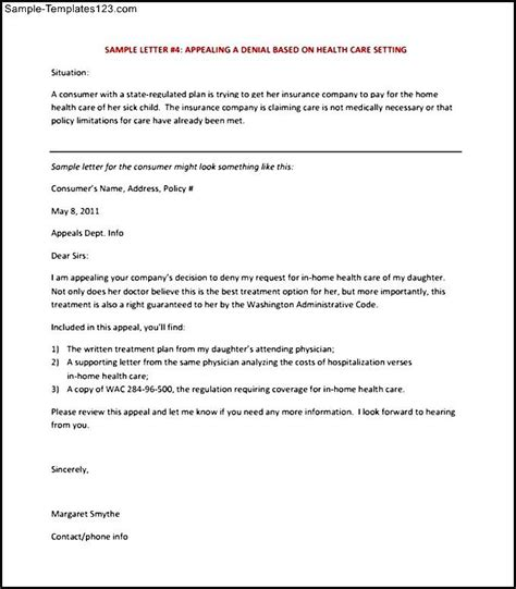 Insurance Letter Format Appeal Letter Template For Health Insurance Pdf Format Sle Templates