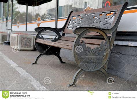 harley davidson bench vintage bench with harley davidson signage editorial stock