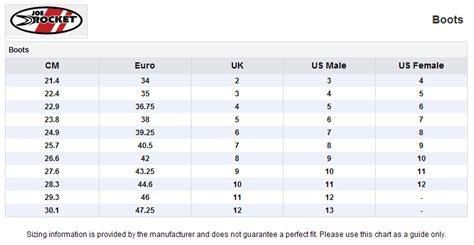 motocross boots size chart fast shipping joe rocket velocity v2x black