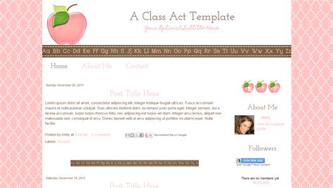blog template for teachers cute modern pink apple class act