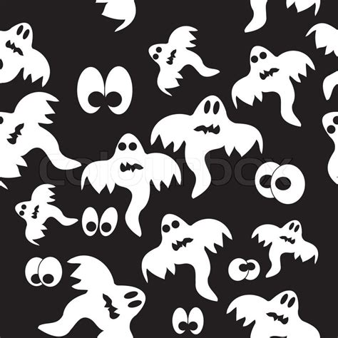 Black Ghost Pattern | seamless pattern with ghosts on black background vector