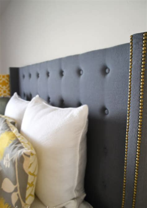 nail studded headboard blue upholstered headboard with gold nailheads decoist