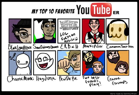 best youtubers top 10 favorite youtubers by yellowsubwalrus on deviantart