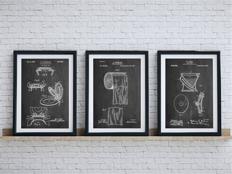 poster bathroom bathroom art patent posters group of 3 bathroom wall decor