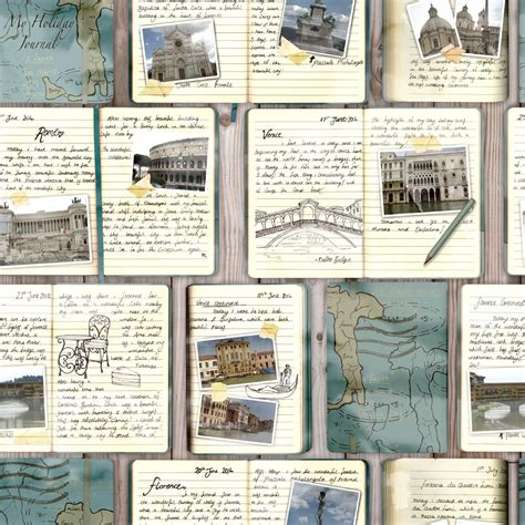 Home Decor Murals rasch travel journal diary collage pattern italy venice