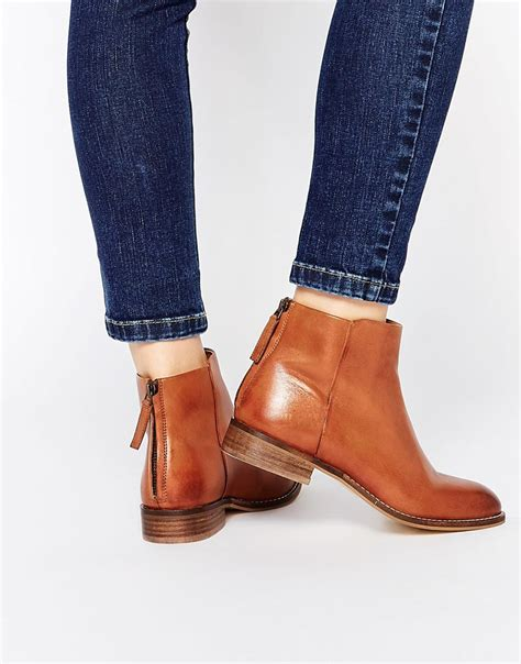 Kickers Ring D Leather Bam Brown Original Dune Philbert Clean Leather Zip Back Ankle Boots In Brown