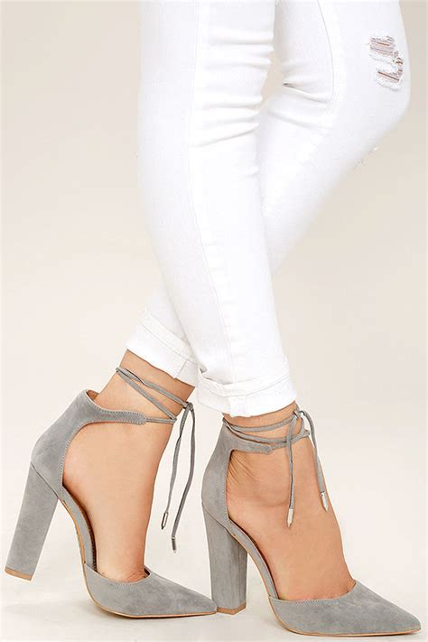 light pink tie up heels grey heels grey vegan suede pumps lace up heels
