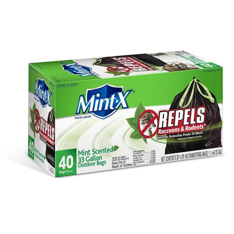 shop mint x 40 count 33 gallon outdoor trash bags at lowes