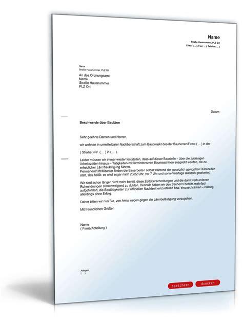 beschwerdebrief schreiben vorlage kostenlos beschwerde 252 ber baul 228 rm beim ordnungsamt muster vorlage zum