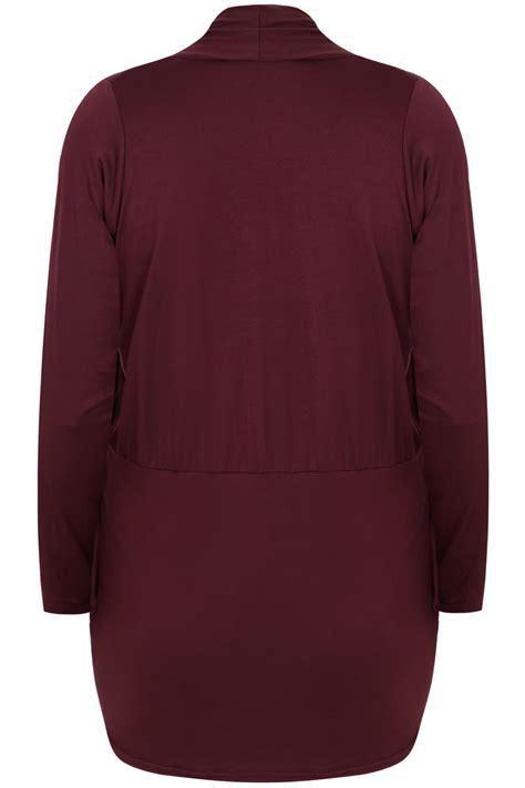 Cardigan Jersey Wine Jersey Cardigan With Drape Pockets Plus Size 16 To 36