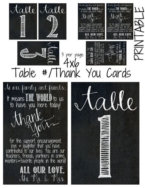 4 X 6 Thank You Card Template by Printable Diy 4 X 6 Chalkboard Theme Table Cards Thank