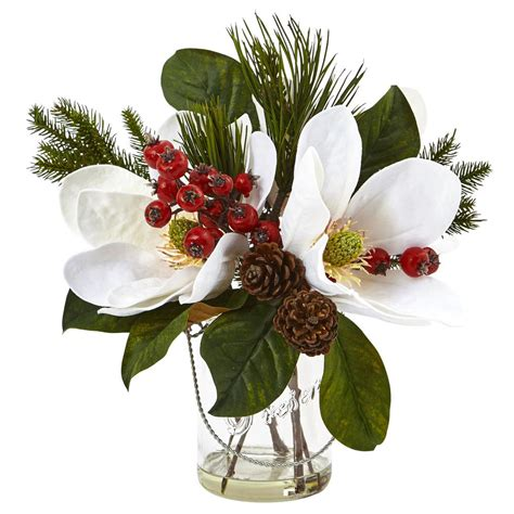 upc 840703127143 magnolia pine and berry in glass vase