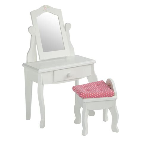 Youth Vanity Table Teamson Princess Vanity Table And Stool Set Baby Doll Furniture At Hayneedle