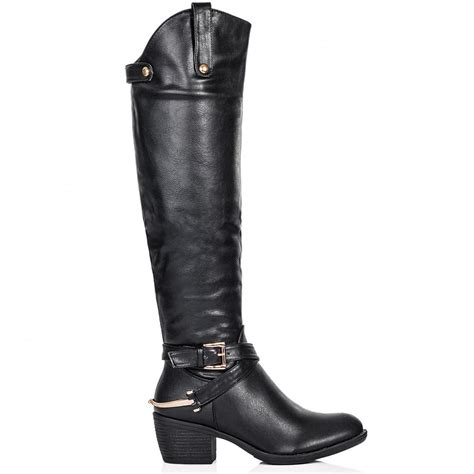 buy heeled knee high boots black leather
