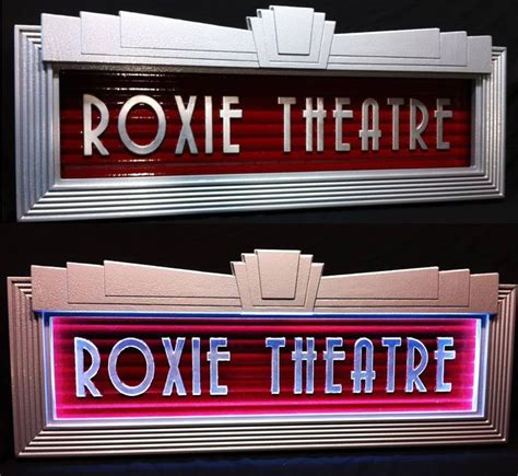 custom built lighted art deco home theater marquee