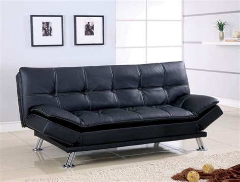 black futon bed futon sofa bed black leather white stitching sofa bed