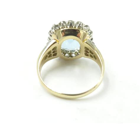 gorgeous antique aquamarine gold platinum ring at