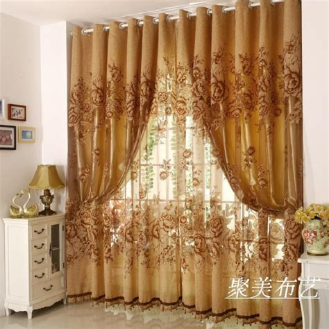 1 Pc Curtain And 1 Pc Tulle Peony Luxury Window Curtains Curtain Sets Living Room
