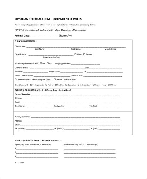 doctor referral form template 10 sle referral forms sle templates