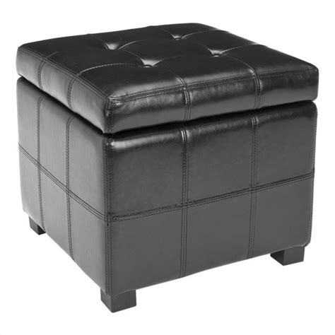 Safavieh Storage Ottoman Safavieh William Leather Tufted Storage Ottoman In Black Hud8231b