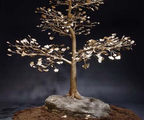 bronze tree sculptor sculpted ginkgo bonsai tree forged and cast